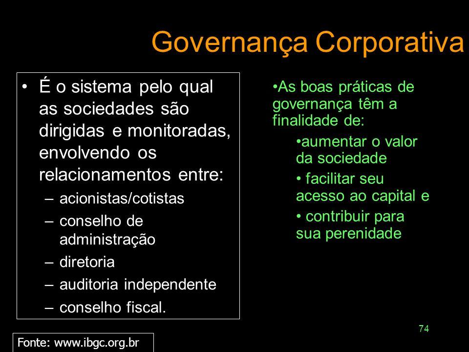 73 Governança Corporativa e Sustentabilidade Convicção de que a sustentabilidade empresarial está ancorada na prática consistente de três processos: E