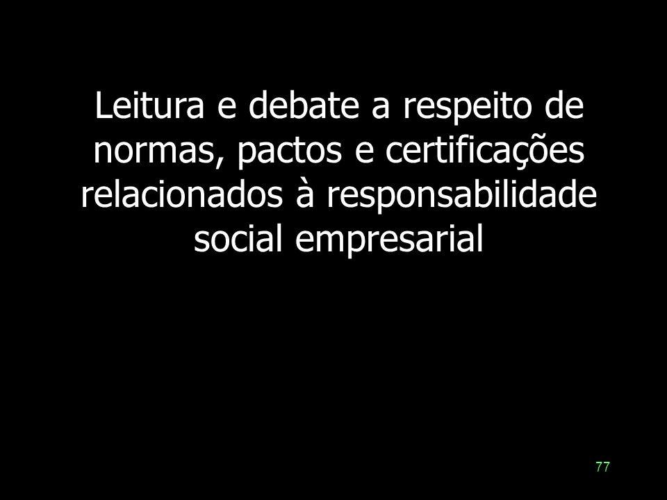 76 Governança e Responsabilidade social: pactos, normas e ferramentas de gestão Gerais ou Universais –Declaração dos Direitos Humanos –Declaração do R