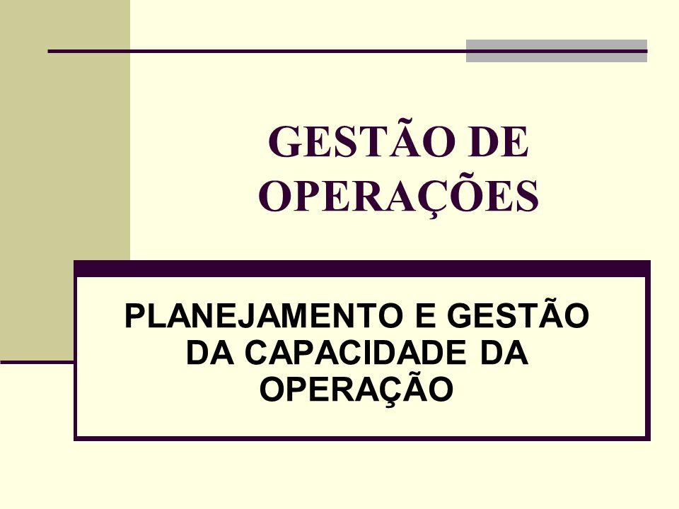 GESTÃO DE OPERAÇÕES PLANEJAMENTO E GESTÃO DA CAPACIDADE DA OPERAÇÃO