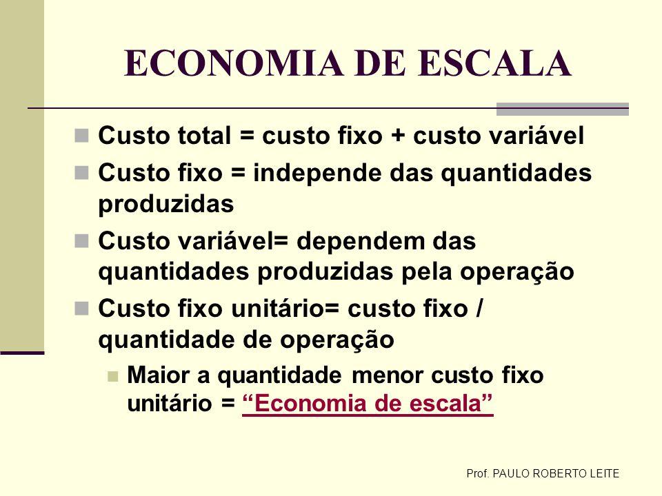 Prof. PAULO ROBERTO LEITE ECONOMIA DE ESCALA Custo total = custo fixo + custo variável Custo fixo = independe das quantidades produzidas Custo variáve