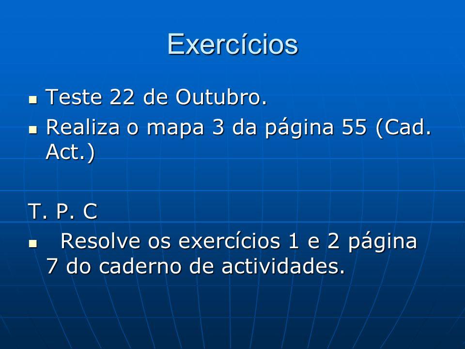 Exercícios Teste 22 de Outubro. Teste 22 de Outubro. Realiza o mapa 3 da página 55 (Cad. Act.) Realiza o mapa 3 da página 55 (Cad. Act.) T. P. C Resol