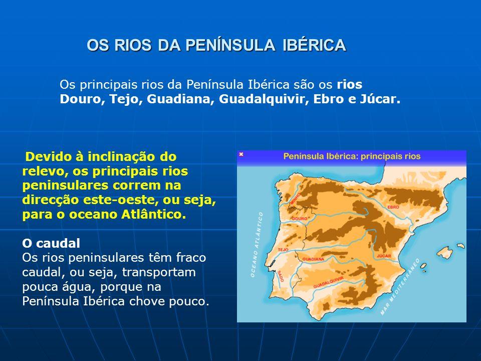 OS RIOS DA PENÍNSULA IBÉRICA Devido à inclinação do relevo, os principais rios peninsulares correm na direcção este-oeste, ou seja, para o oceano Atlâ