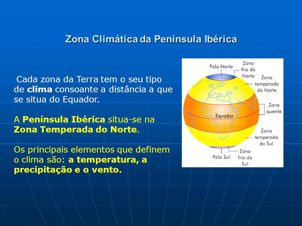 Zona Climática da Península Ibérica Cada zona da Terra tem o seu tipo de clima consoante a distância a que se situa do Equador. A Península Ibérica si