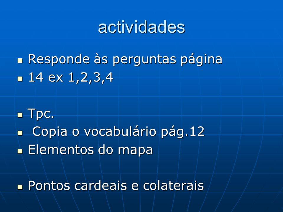 actividades Responde às perguntas página Responde às perguntas página 14 ex 1,2,3,4 14 ex 1,2,3,4 Tpc. Tpc. Copia o vocabulário pág.12 Copia o vocabul