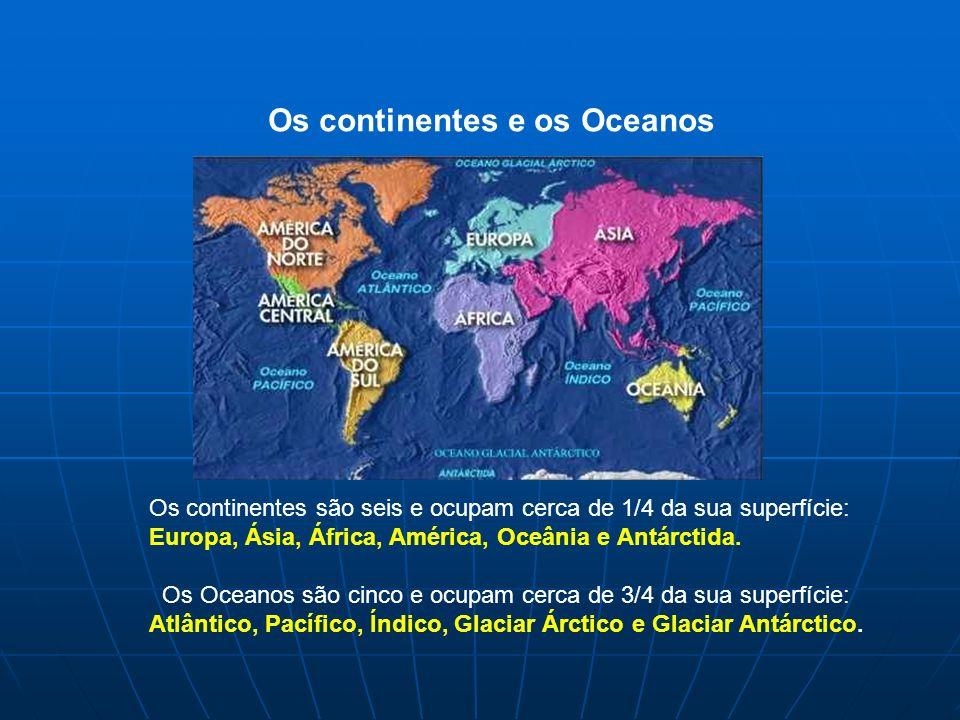 Os continentes são seis e ocupam cerca de 1/4 da sua superfície: Europa, Ásia, África, América, Oceânia e Antárctida. Os Oceanos são cinco e ocupam ce