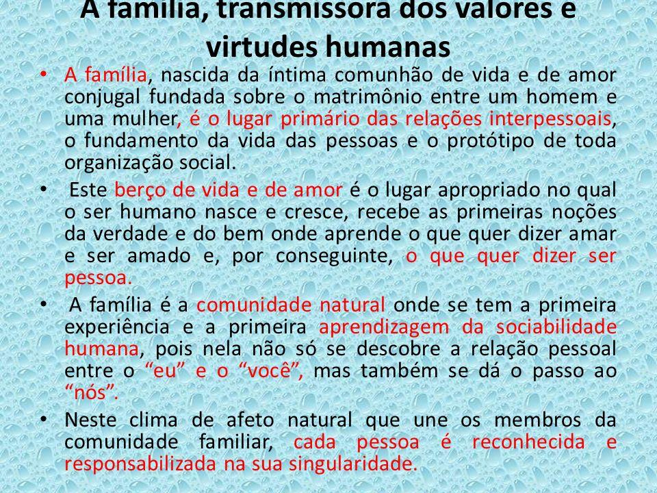A família, transmissora dos valores e virtudes humanas A família, nascida da íntima comunhão de vida e de amor conjugal fundada sobre o matrimônio ent