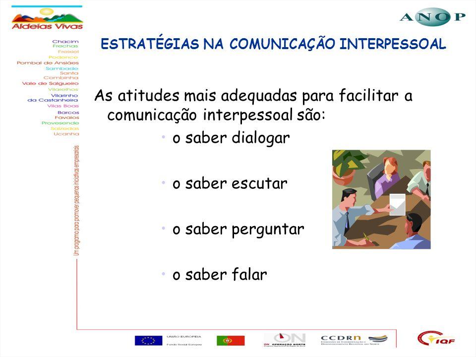 17 ESTRATÉGIAS NA COMUNICAÇÃO INTERPESSOAL As atitudes mais adequadas para facilitar a comunicação interpessoal são: o saber dialogar o saber escutar