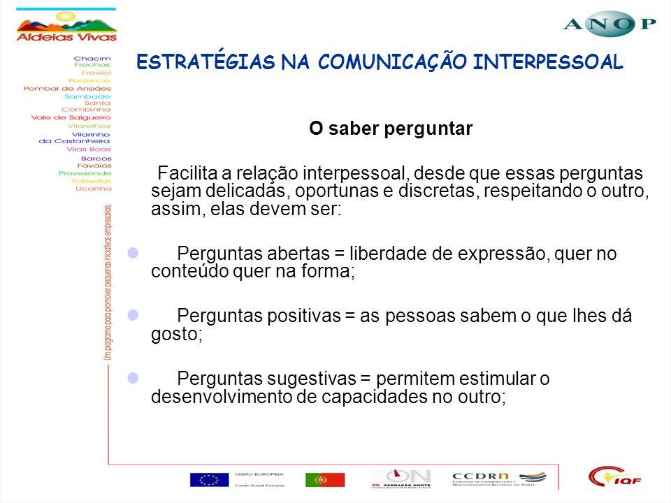 18 ESTRATÉGIAS NA COMUNICAÇÃO INTERPESSOAL O saber perguntar Facilita a relação interpessoal, desde que essas perguntas sejam delicadas, oportunas e d