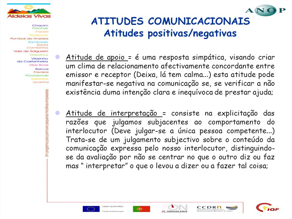 21 ATITUDES COMUNICACIONAIS Atitudes positivas/negativas Atitude de apoio = é uma resposta simpática, visando criar um clima de relacionamento afectiv