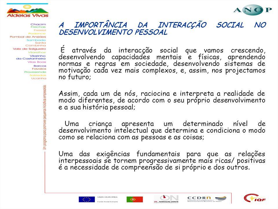 24 A IMPORTÂNCIA DA INTERACÇÃO SOCIAL NO DESENVOLVIMENTO PESSOAL É através da interacção social que vamos crescendo, desenvolvendo capacidades mentais