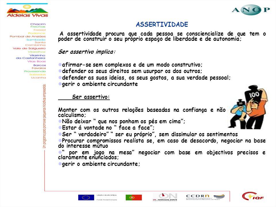 29 ASSERTIVIDADE A assertividade procura que cada pessoa se consciencialize de que tem o poder de construir o seu próprio espaço de liberdade e de aut