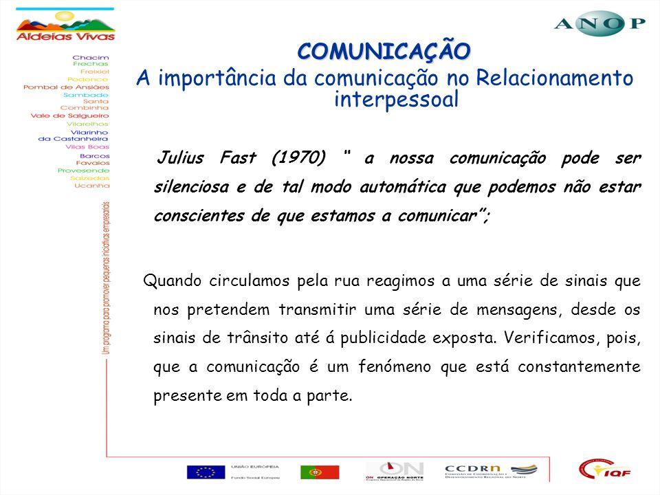 3 COMUNICAÇÃO A importância da comunicação no Relacionamento interpessoal Julius Fast (1970) a nossa comunicação pode ser silenciosa e de tal modo aut