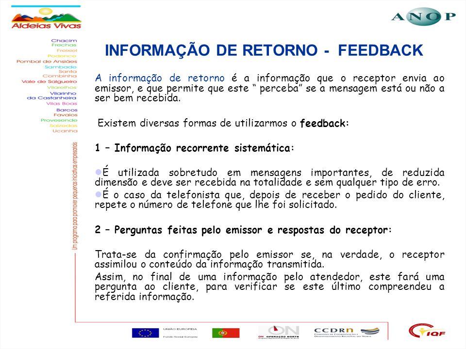 7 INFORMAÇÃO DE RETORNO - FEEDBACK A informação de retorno é a informação que o receptor envia ao emissor, e que permite que este perceba se a mensage
