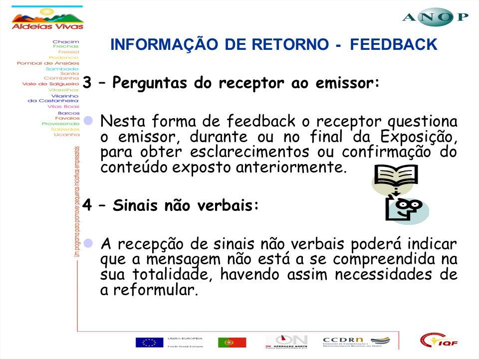 8 INFORMAÇÃO DE RETORNO - FEEDBACK 3 – Perguntas do receptor ao emissor: Nesta forma de feedback o receptor questiona o emissor, durante ou no final d