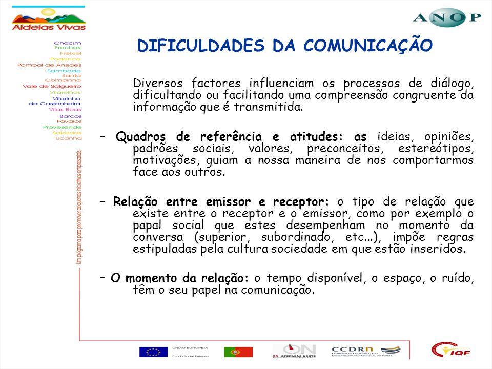 9 DIFICULDADES DA COMUNICAÇÃO Diversos factores influenciam os processos de diálogo, dificultando ou facilitando uma compreensão congruente da informa