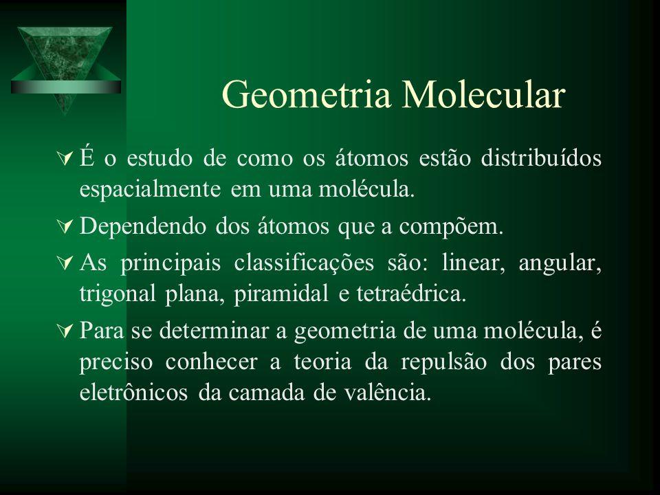 Geometria Molecular É o estudo de como os átomos estão distribuídos espacialmente em uma molécula. Dependendo dos átomos que a compõem. As principais