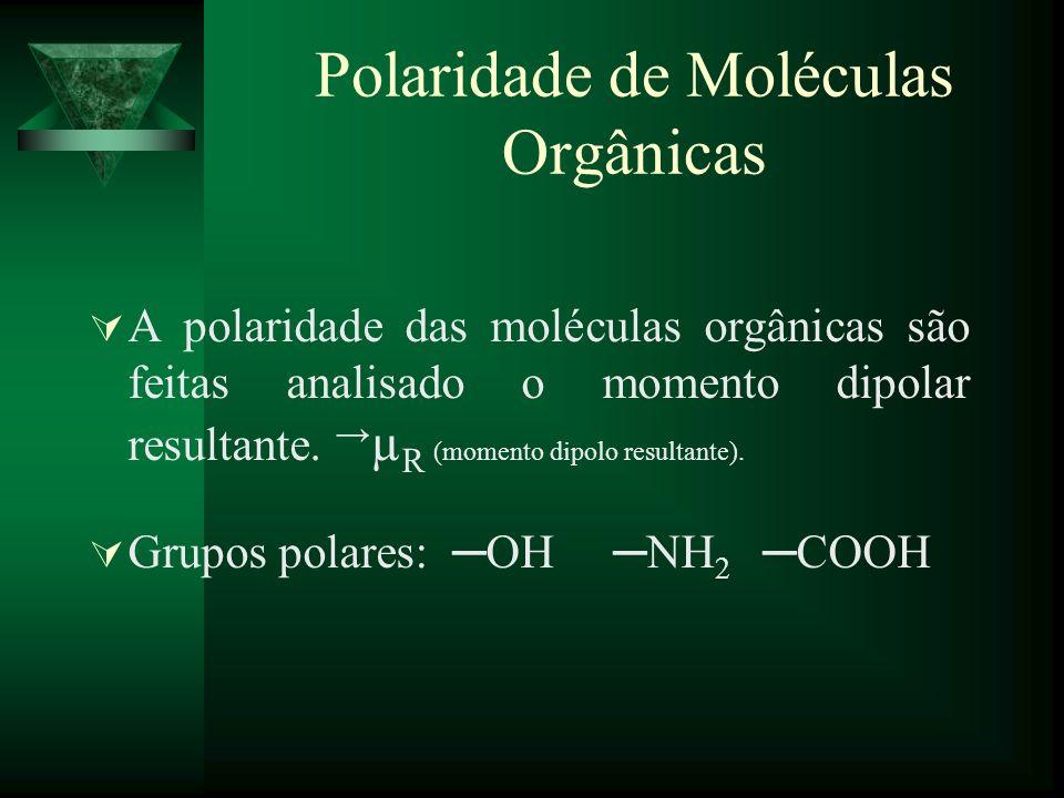 Polaridade de Moléculas Orgânicas A polaridade das moléculas orgânicas são feitas analisado o momento dipolar resultante. µ R (momento dipolo resultan