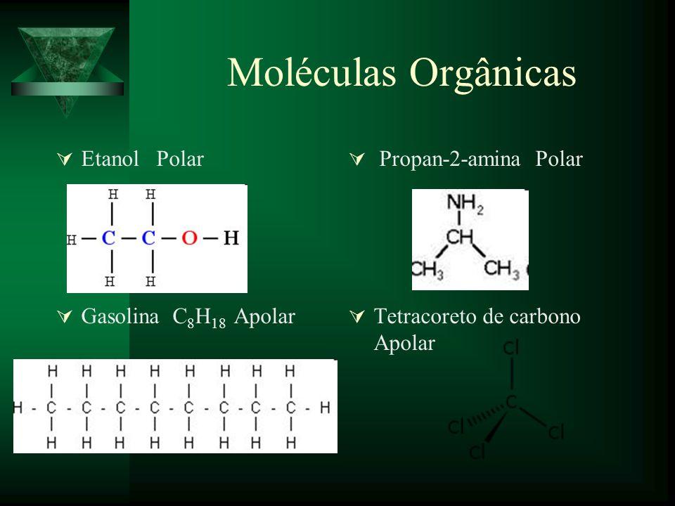 Moléculas Orgânicas Etanol Polar Propan-2-amina Polar Gasolina C 8 H 18 Apolar Tetracoreto de carbono Apolar