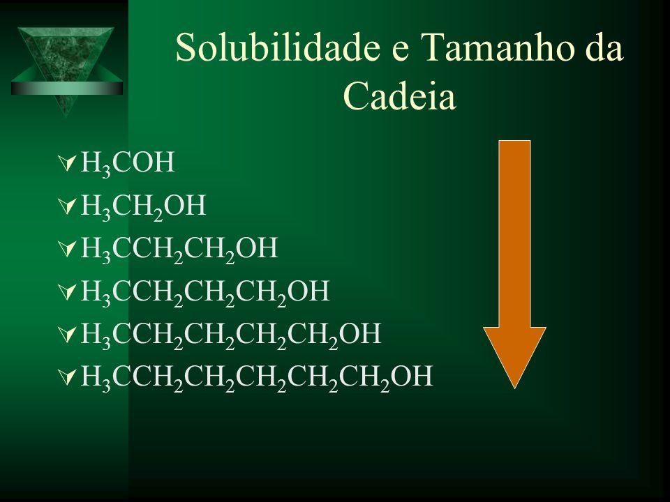 Solubilidade e Tamanho da Cadeia H 3 COH H 3 CH 2 OH H 3 CCH 2 CH 2 OH H 3 CCH 2 CH 2 CH 2 OH H 3 CCH 2 CH 2 CH 2 CH 2 OH H 3 CCH 2 CH 2 CH 2 CH 2 CH