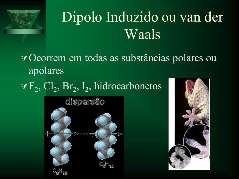 Dipolo Induzido ou van der Waals Ocorrem em todas as substâncias polares ou apolares F 2, Cl 2, Br 2, I 2, hidrocarbonetos