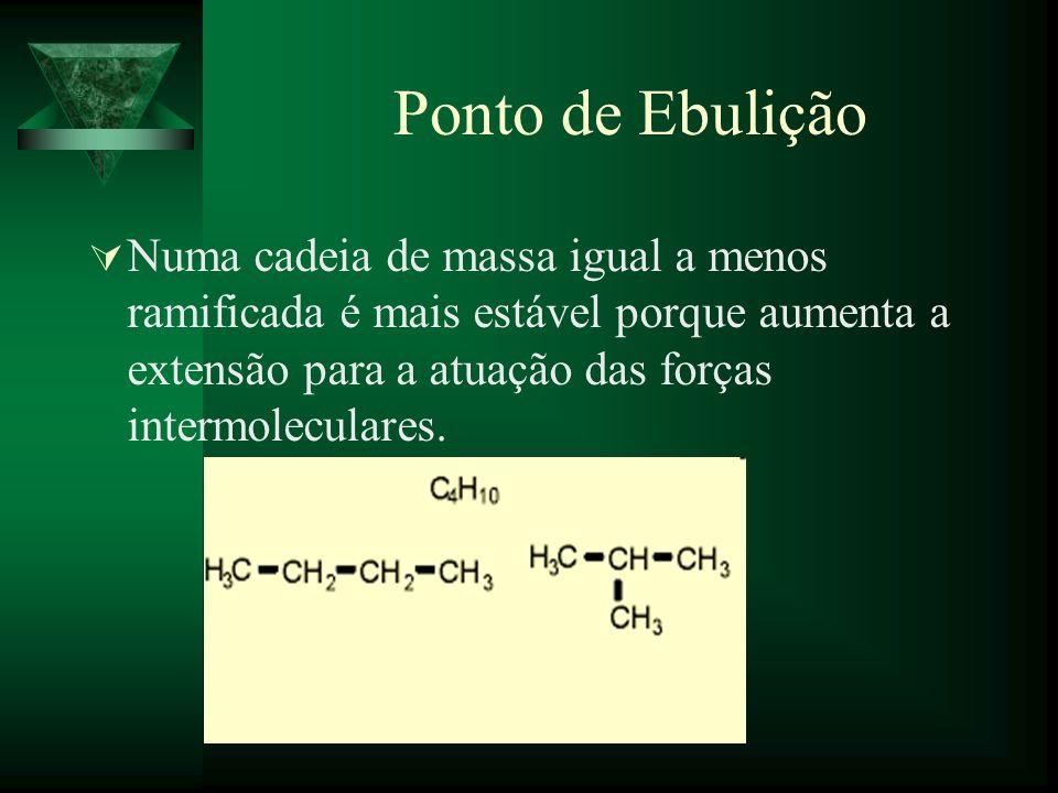 Ponto de Ebulição Numa cadeia de massa igual a menos ramificada é mais estável porque aumenta a extensão para a atuação das forças intermoleculares.