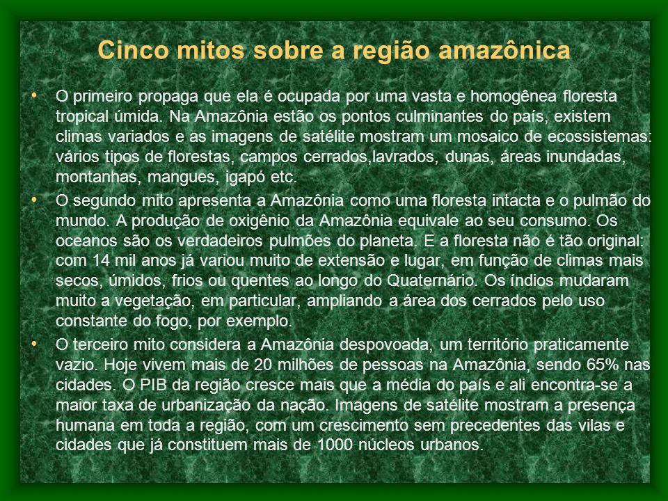 Cinco mitos sobre a região amazônica O primeiro propaga que ela é ocupada por uma vasta e homogênea floresta tropical úmida.