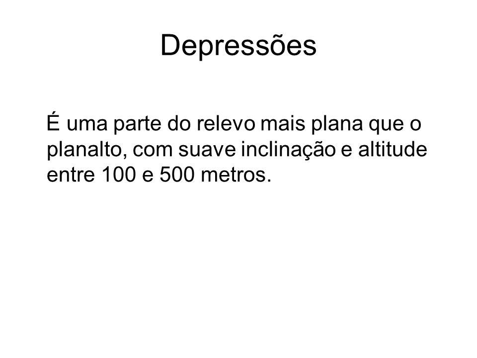 Depressões É uma parte do relevo mais plana que o planalto, com suave inclinação e altitude entre 100 e 500 metros.