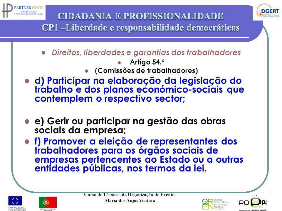 Direitos, liberdades e garantias dos trabalhadores Artigo 54.º (Comissões de trabalhadores) d) Participar na elaboração da legislação do trabalho e do