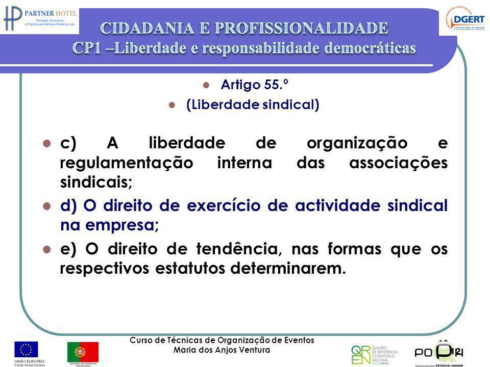Artigo 55.º (Liberdade sindical) c) A liberdade de organização e regulamentação interna das associações sindicais; d) O direito de exercício de activi