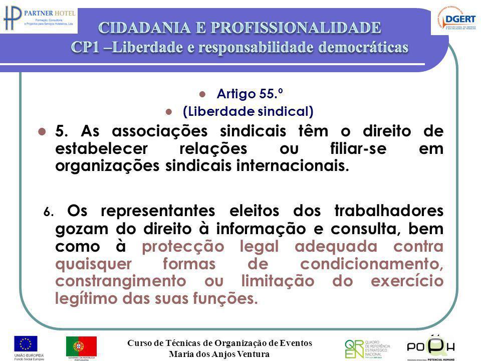 Artigo 55.º (Liberdade sindical) 5. As associações sindicais têm o direito de estabelecer relações ou filiar-se em organizações sindicais internaciona