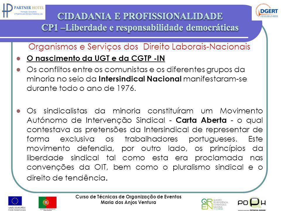 Curso de Técnicas de Organização de Eventos Maria dos Anjos Ventura 43 Organismos e Serviços dos Direito Laborais-Nacionais O nascimento da UGT e da C