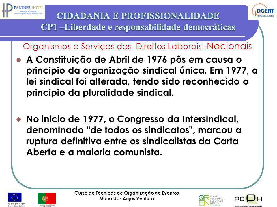 Curso de Técnicas de Organização de Eventos Maria dos Anjos Ventura 44 Organismos e Serviços dos Direitos Laborais - Nacionais A Constituição de Abril