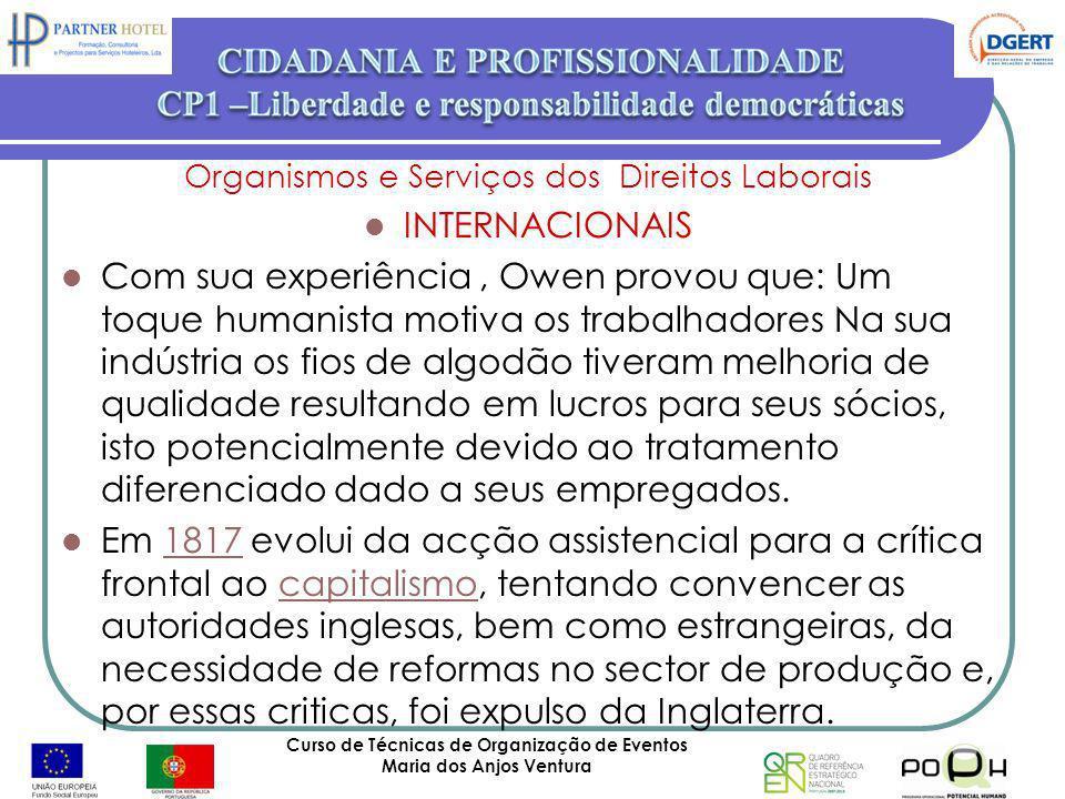 Curso de Técnicas de Organização de Eventos Maria dos Anjos Ventura 57 Organismos e Serviços dos Direitos Laborais INTERNACIONAIS Com sua experiência,