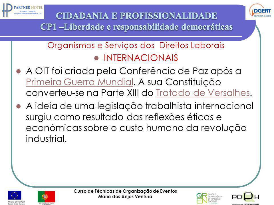 Curso de Técnicas de Organização de Eventos Maria dos Anjos Ventura 59 Organismos e Serviços dos Direitos Laborais INTERNACIONAIS A OIT foi criada pel