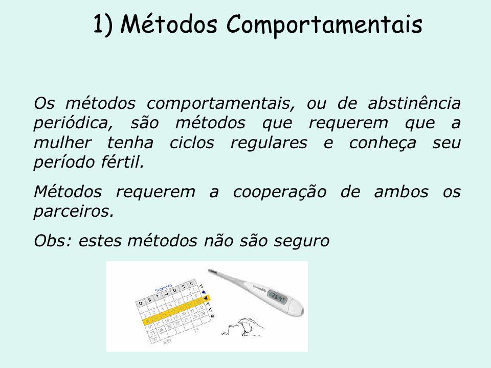 1) Métodos Comportamentais Os métodos comportamentais, ou de abstinência periódica, são métodos que requerem que a mulher tenha ciclos regulares e con