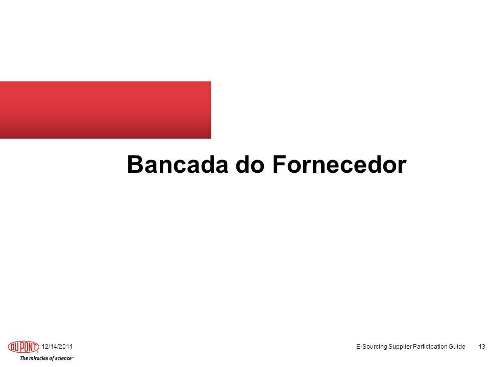 Bancada do Fornecedor 12/14/2011 E-Sourcing Supplier Participation Guide 13