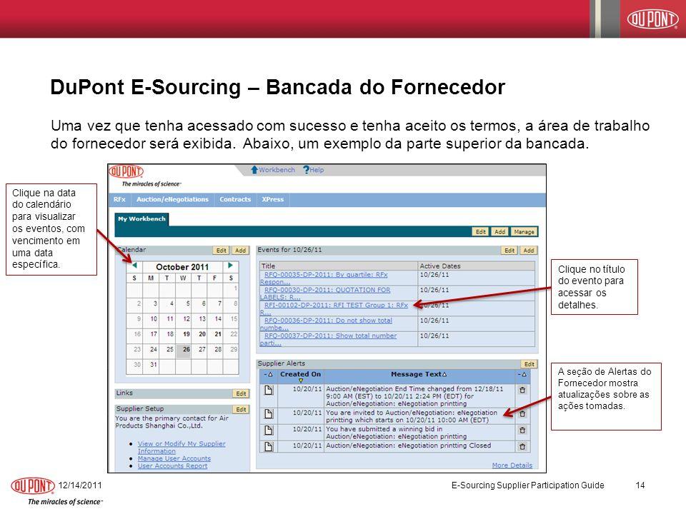 12/14/2011 E-Sourcing Supplier Participation Guide 14 DuPont E-Sourcing – Bancada do Fornecedor Uma vez que tenha acessado com sucesso e tenha aceito