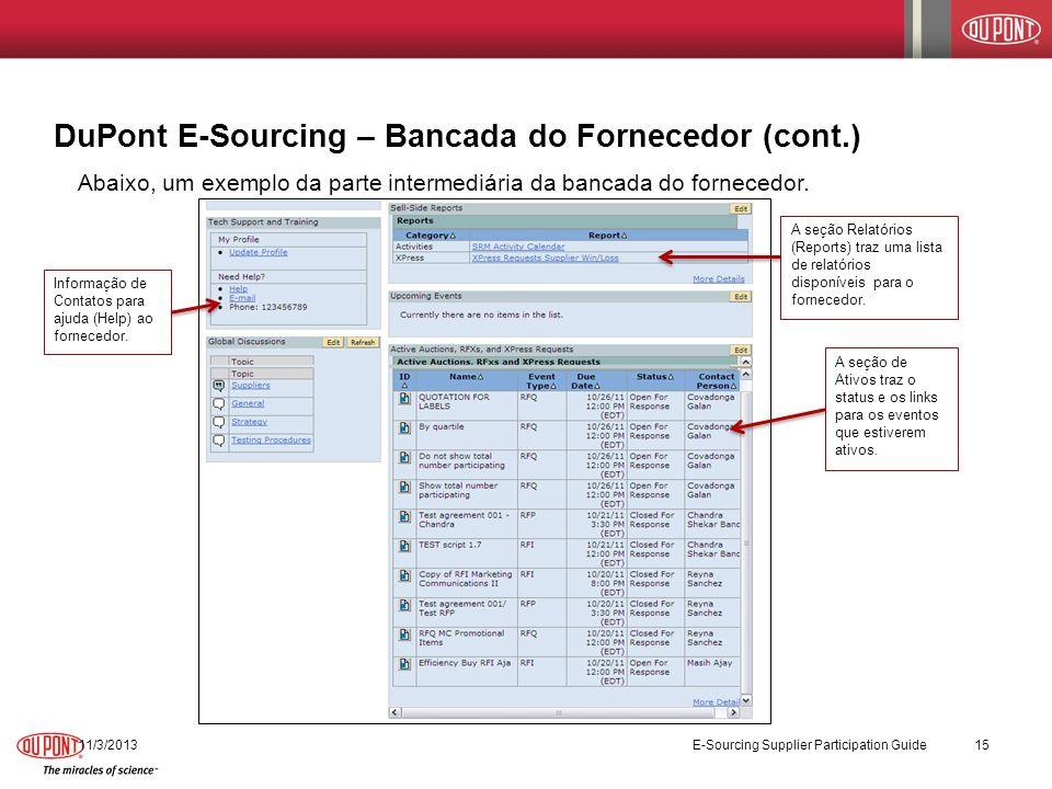 11/3/2013 E-Sourcing Supplier Participation Guide 15 DuPont E-Sourcing – Bancada do Fornecedor (cont.) Abaixo, um exemplo da parte intermediária da ba
