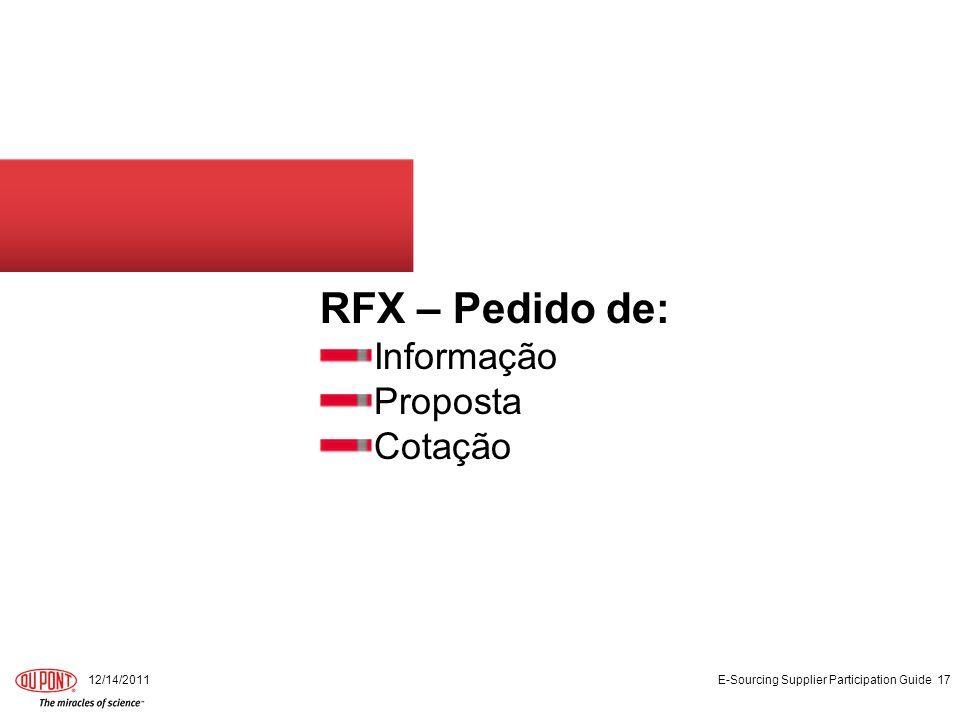 RFX – Pedido de: Informação Proposta Cotação 12/14/2011 E-Sourcing Supplier Participation Guide 17