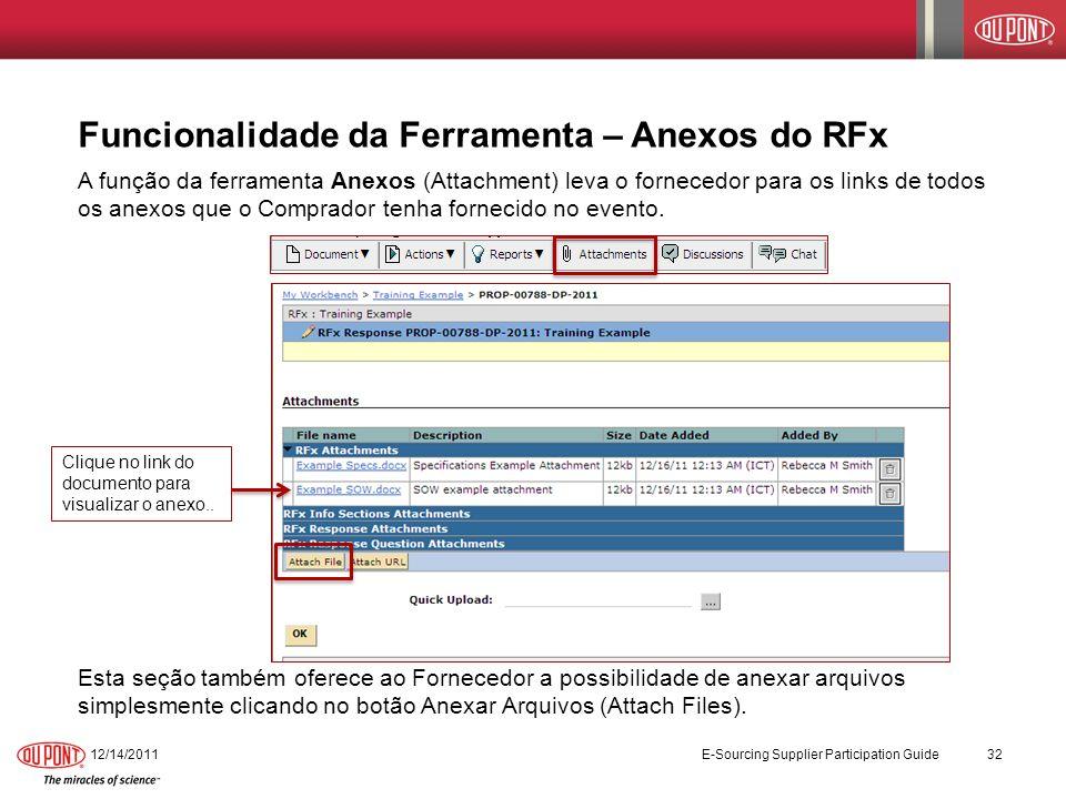 Funcionalidade da Ferramenta – Anexos do RFx A função da ferramenta Anexos (Attachment) leva o fornecedor para os links de todos os anexos que o Compr