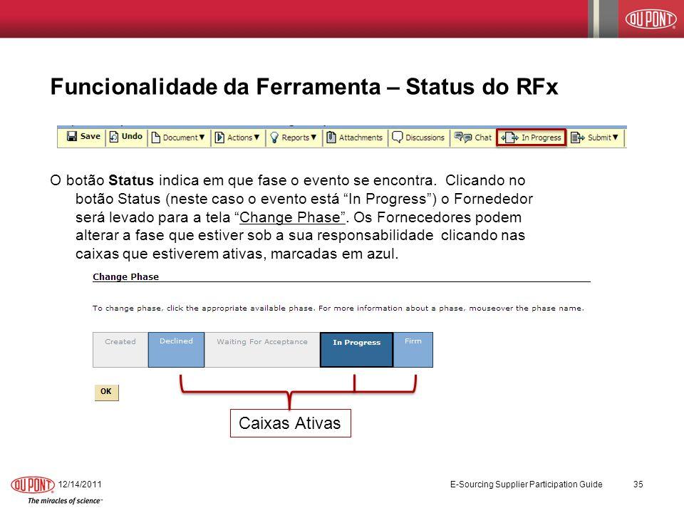 Funcionalidade da Ferramenta – Status do RFx O botão Status indica em que fase o evento se encontra. Clicando no botão Status (neste caso o evento est