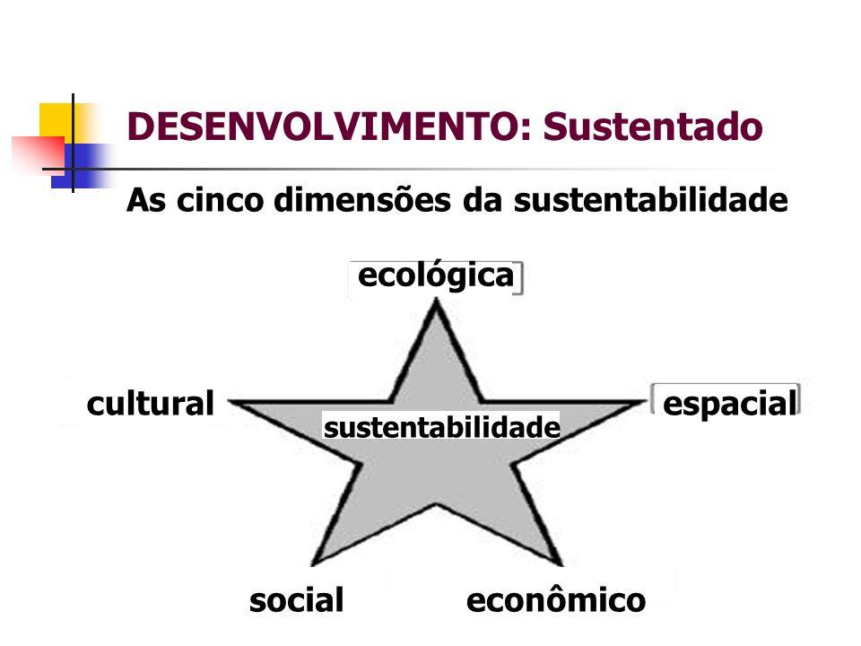 DESENVOLVIMENTO: Sustentado As cinco dimensões da sustentabilidade ecológica espacial social cultural econômico sustentabilidade