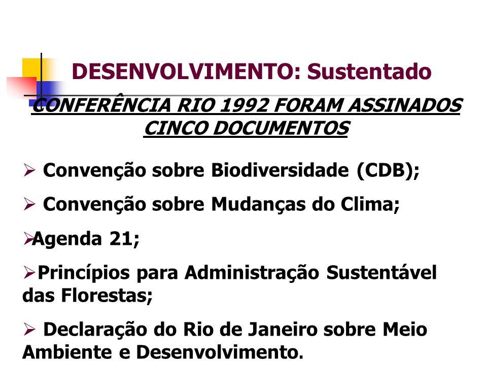 DESENVOLVIMENTO: Sustentado Convenção sobre Biodiversidade (CDB); Convenção sobre Mudanças do Clima; Agenda 21; Princípios para Administração Sustentável das Florestas; Declaração do Rio de Janeiro sobre Meio Ambiente e Desenvolvimento.
