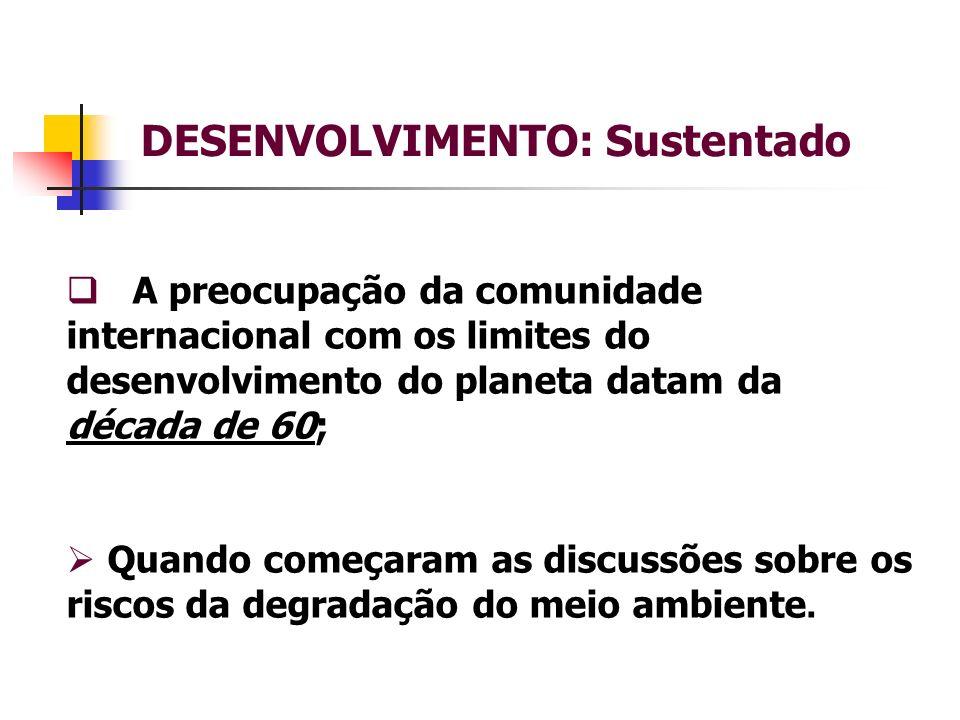 DESENVOLVIMENTO: Sustentado A preocupação da comunidade internacional com os limites do desenvolvimento do planeta datam da década de 60; Quando começaram as discussões sobre os riscos da degradação do meio ambiente.