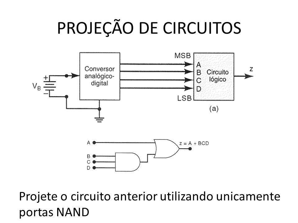 PROJEÇÃO DE CIRCUITOS Projete o circuito anterior utilizando unicamente portas NAND