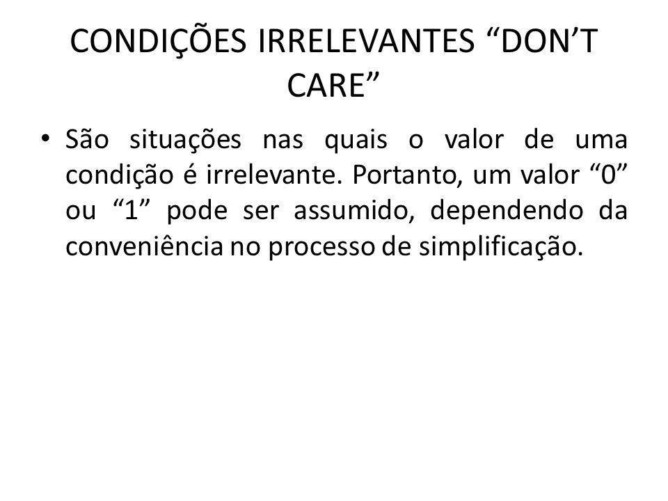 CONDIÇÕES IRRELEVANTES DONT CARE São situações nas quais o valor de uma condição é irrelevante. Portanto, um valor 0 ou 1 pode ser assumido, dependend