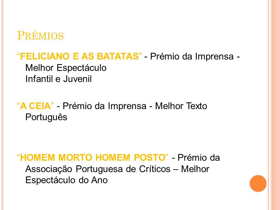P RÉMIOS FELICIANO E AS BATATAS - Prémio da Imprensa - Melhor Espectáculo Infantil e Juvenil A CEIA - Prémio da Imprensa - Melhor Texto Português HOME