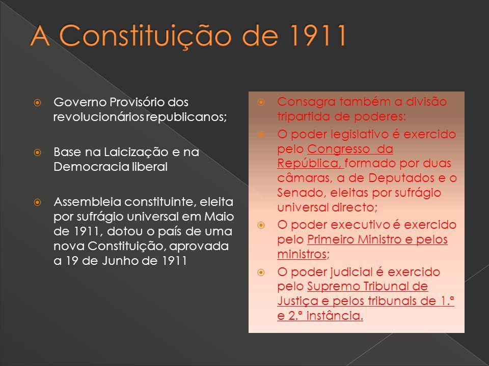 Governo Provisório dos revolucionários republicanos; Base na Laicização e na Democracia liberal Assembleia constituinte, eleita por sufrágio universal