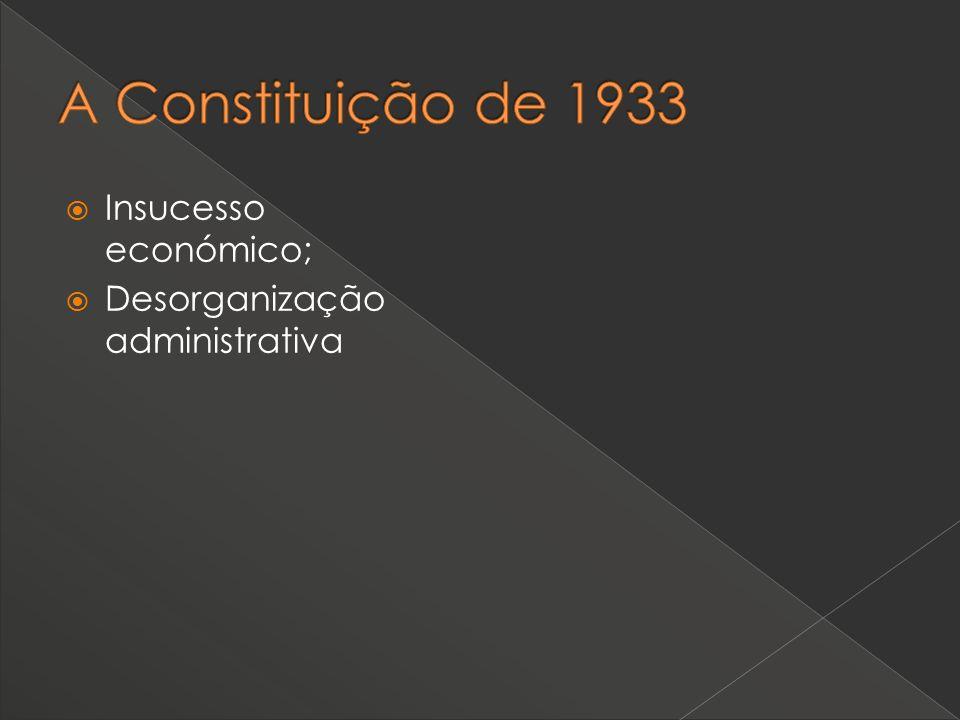 Insucesso económico; Desorganização administrativa