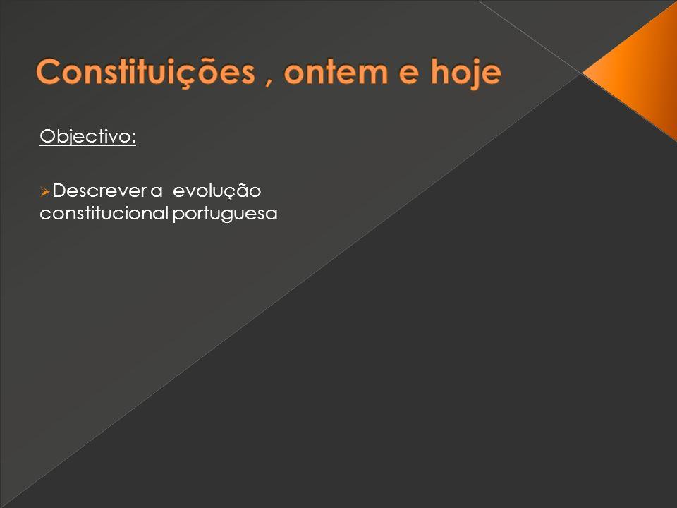 Objectivo: Descrever a evolução constitucional portuguesa